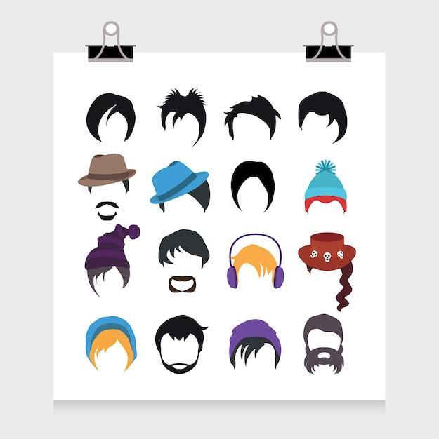Colección de iconos de peinados vector gratuito