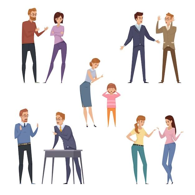 Colección de iconos de pelea con personas que discuten en diferentes situaciones en estilo plano aislado vector i vector gratuito
