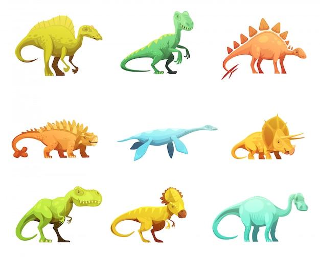Colección de iconos de personajes de dibujos animados retro dinosaurus vector gratuito