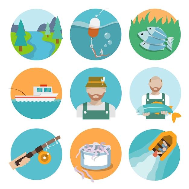 Colección de iconos de pesca vector gratuito