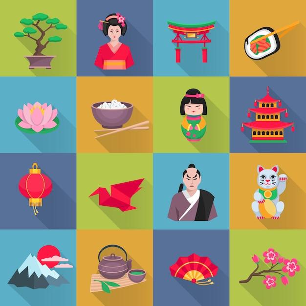 Colección de iconos planos de cultura japonesa con flor de loto linterna roja vector gratuito