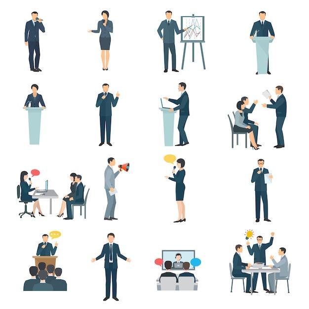 Colección de iconos planos de habilidades para hablar en público. vector gratuito