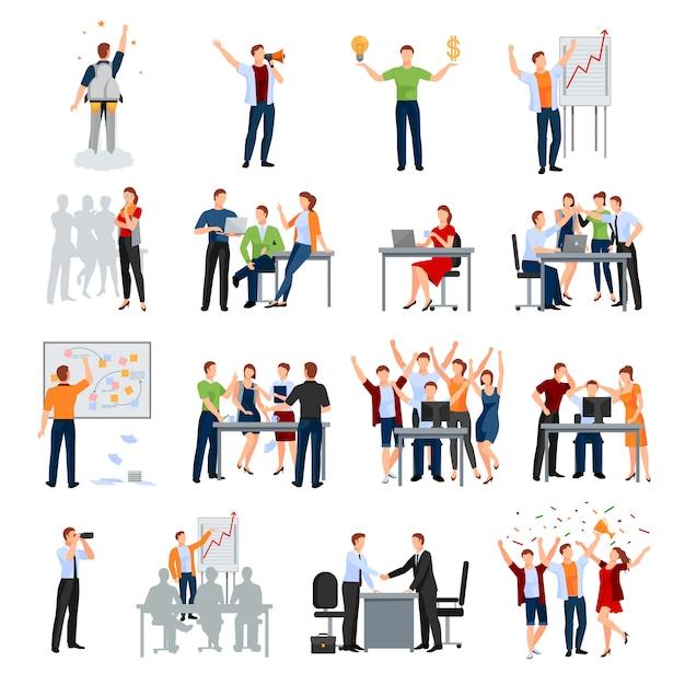 Colección de iconos planos de momentos de trabajo de inicio de negocios con reunión de planificación presentación de ideas lluvia de ideas vector gratuito