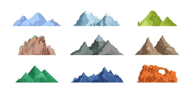 Colección de iconos planos de montañas y rocas vector gratuito