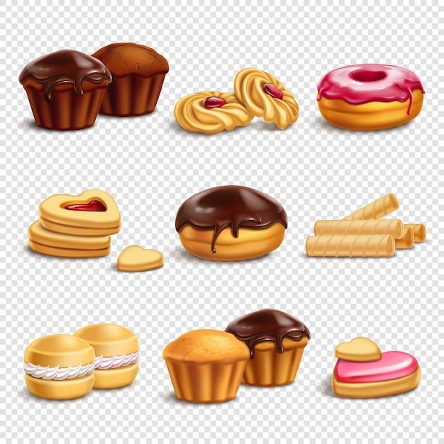 Colección de iconos de productos de confitería vector gratuito