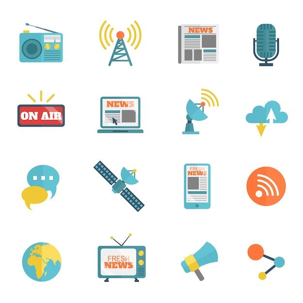 Colección de iconos de radio y televisión vector gratuito