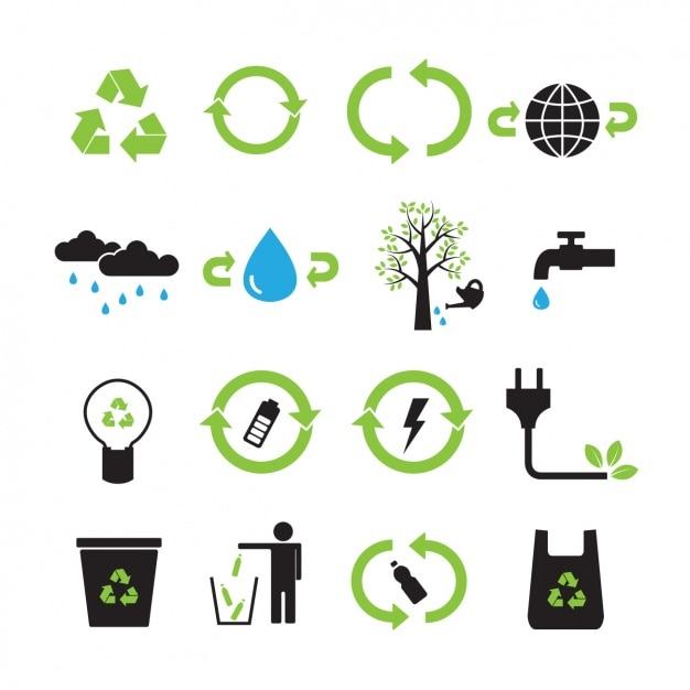 Colección de iconos de reciclaje vector gratuito