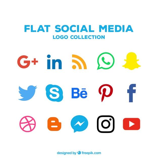 Colección de iconos de redes sociales en diseño plano Vector Premium