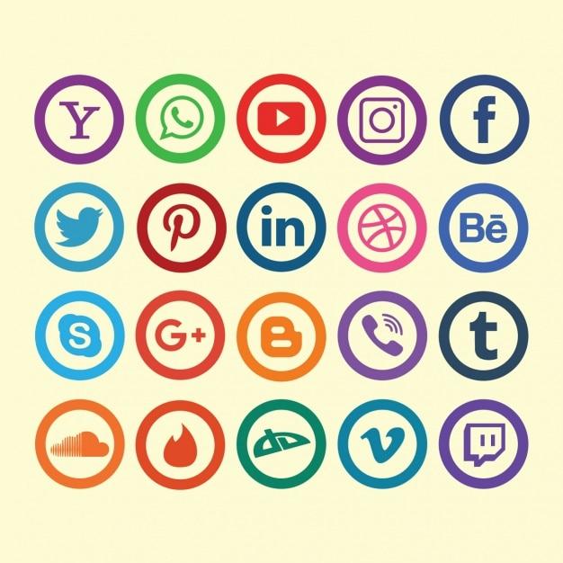 Colección de iconos de redes sociales vector gratuito