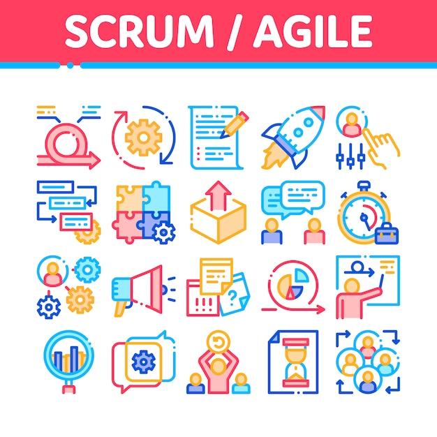 Colección de iconos de scrum agile Vector Premium
