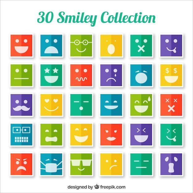 Colección de iconos sonrientes de colores vector gratuito