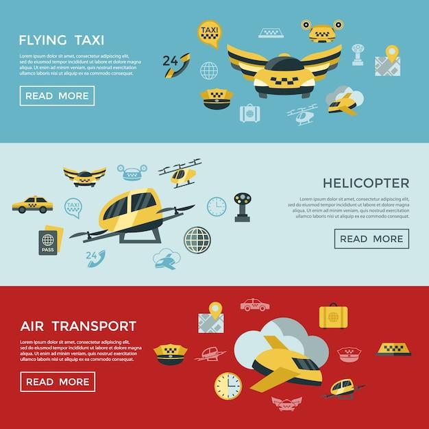 Colección de iconos de taxi volador Vector Premium