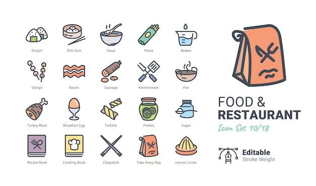 Colección de iconos de vector de comida y restaurante Vector Premium
