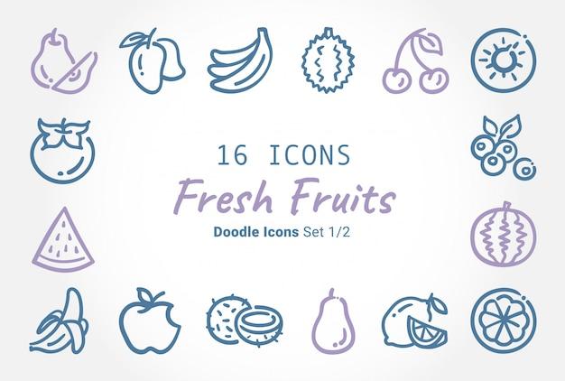 Colección de iconos de vector de frutas frescas doodle Vector Premium