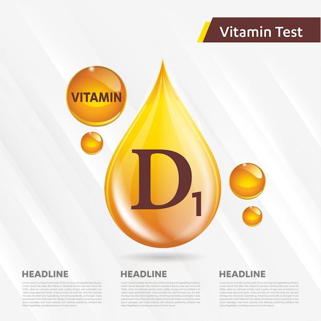 Colección de iconos de vitamina d1 ilustración vectorial gota de oro Vector Premium