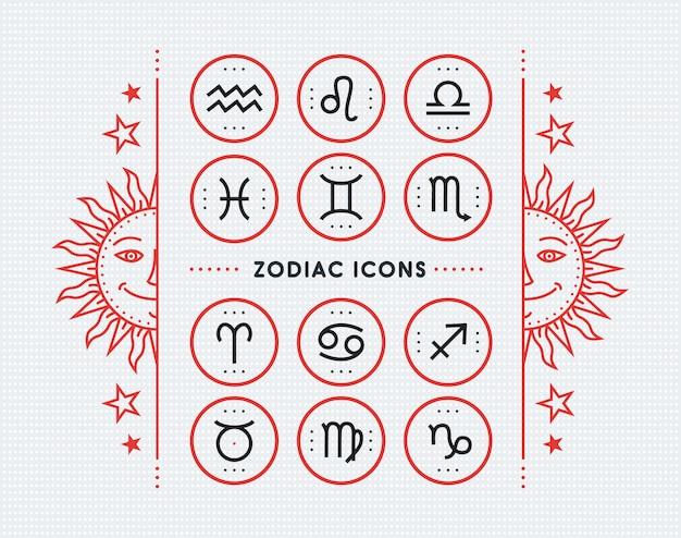 Colección de iconos del zodiaco. conjunto de símbolos sagrados. elementos de estilo vintage de horóscopo y astrología. signos de línea delgada sobre fondo punteado brillante. colección. Vector Premium