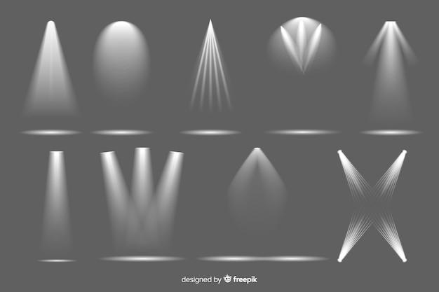 Colección de iluminación de foco realista. vector gratuito