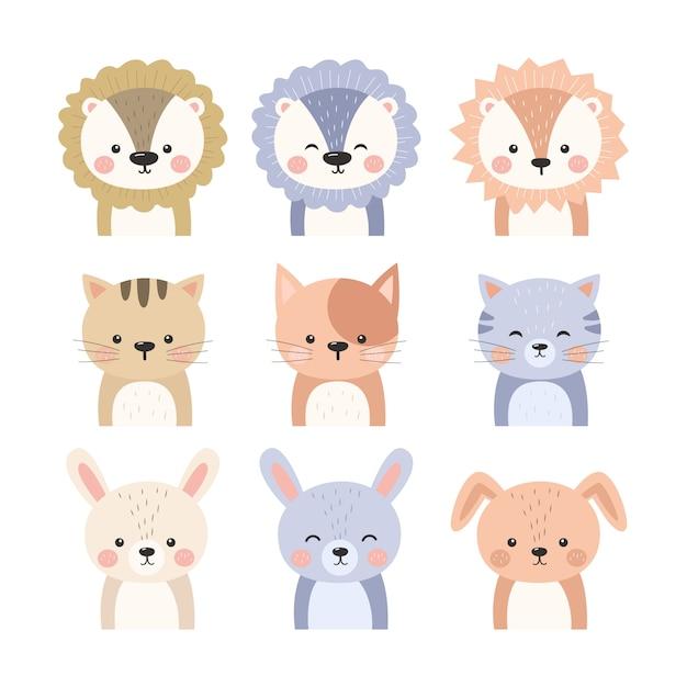 Colección de ilustración de animales adorables Vector Premium