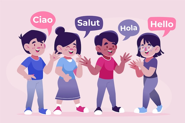 Colección de ilustración de jóvenes hablando en diferentes idiomas vector gratuito