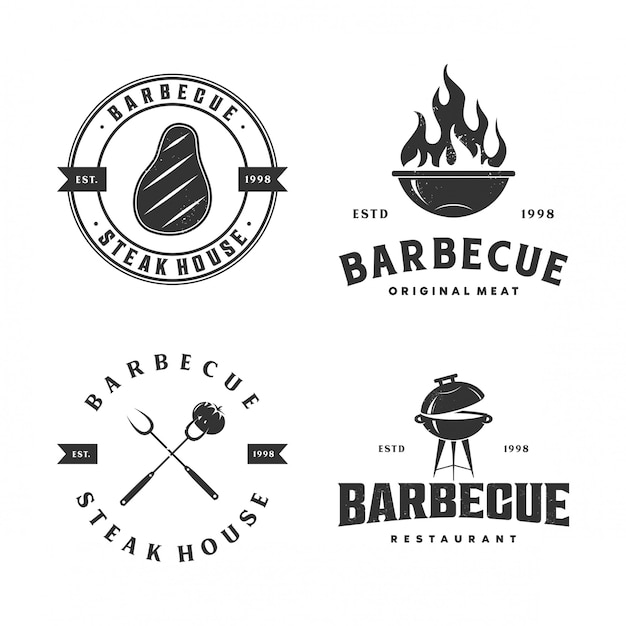 Colección de ilustración de logotipo de barbacoa Vector Premium