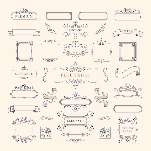 Colección de ilustración de marco de ornamento vintage vector gratuito