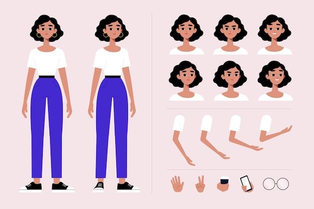 Colección de ilustración de poses de personaje femenino vector gratuito