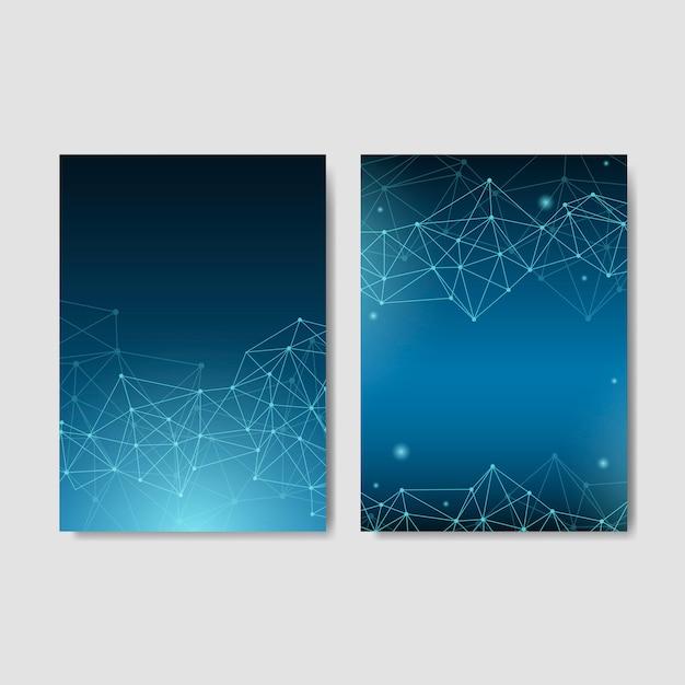 Colección de ilustración de red neuronal azul vector gratuito