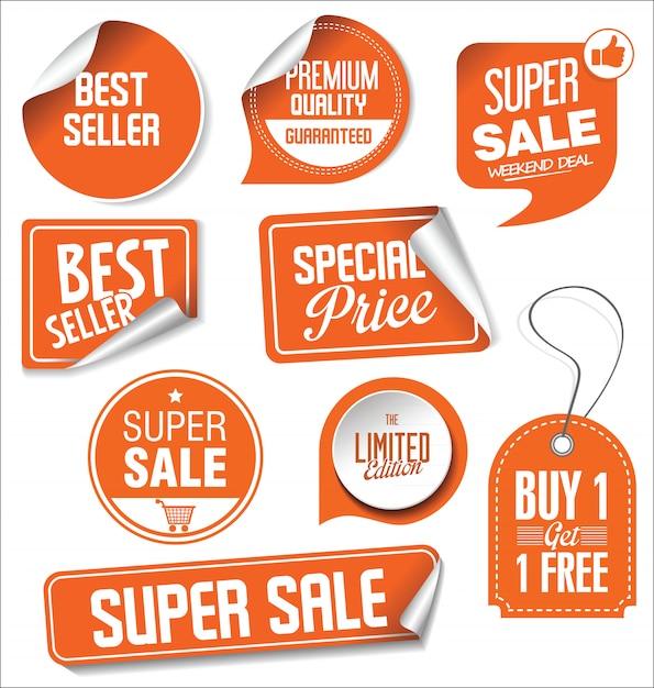 Colección de ilustración de vector de pegatinas de venta Vector Premium