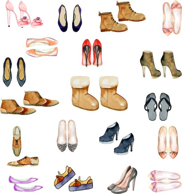 d1078283ca0 Colección de ilustración de zapatos de acuarela