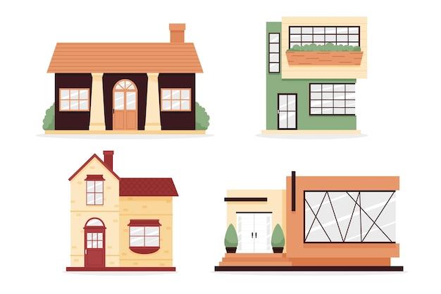 Colección de ilustraciones de casas vector gratuito