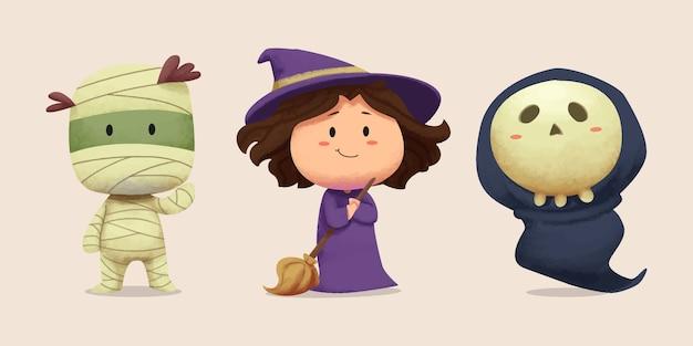 Colección de ilustraciones temáticas de halloween Vector Premium