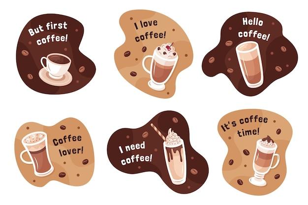 Colección de ilustraciones de tipos de café vector gratuito