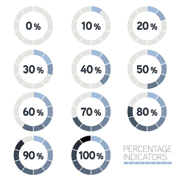 Colección de indicadores de porcentajes vector gratuito