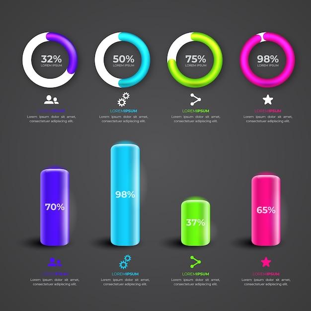 Colección de infografía brillante 3d vector gratuito