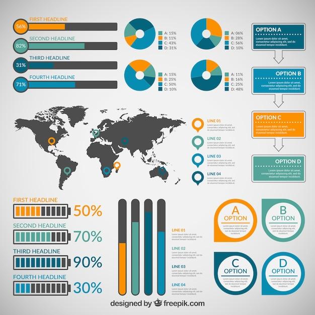 Colección de infografía plantilla de elementos Vector Premium