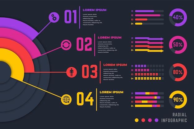 Colección de infografía radial gradiente Vector Premium