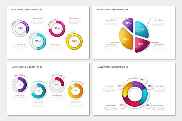 Colección de infografías de diagramas de harvey ball realistas vector gratuito