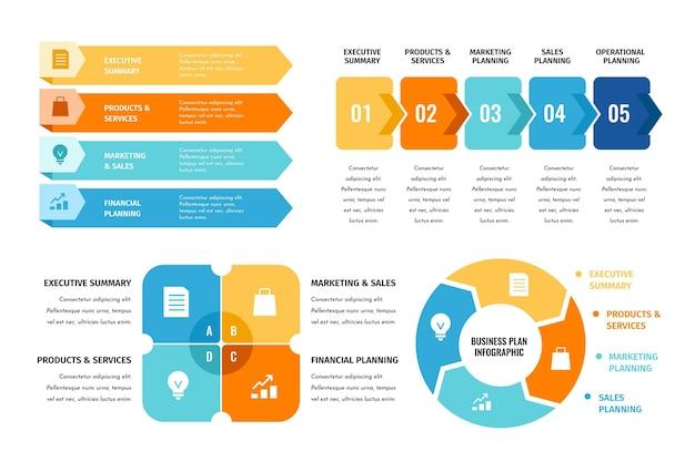 Colección de infografías de planes de negocios vector gratuito