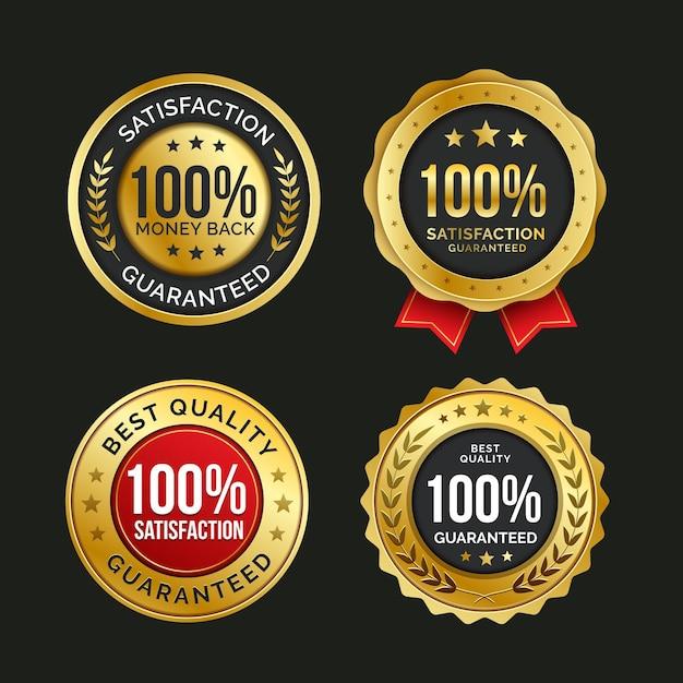 Colección de insignias 100% satisfacción garantizada vector gratuito
