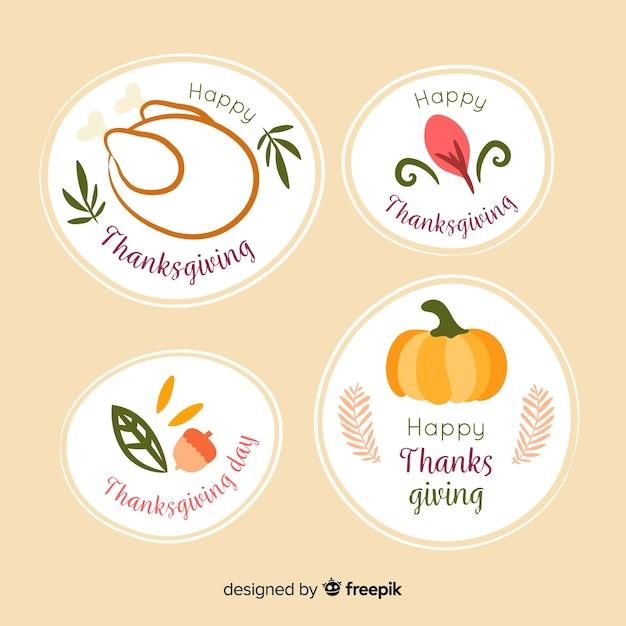 Colección de insignias de acción de gracias dibujadas a mano vector gratuito