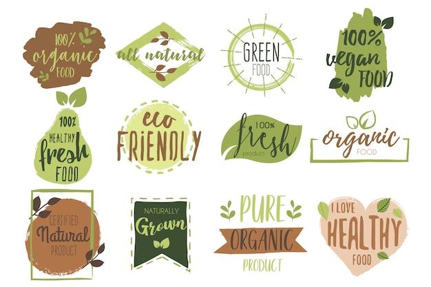 Colección de insignias de alimentos orgánicos vector gratuito
