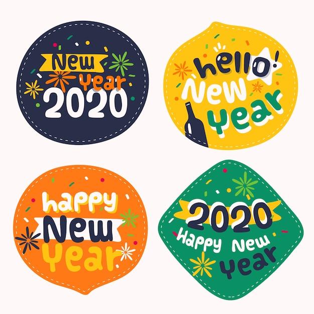 Colección de insignias de año nuevo 2020 en diseño plano vector gratuito