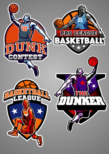 Colección de insignias de baloncesto Vector Premium