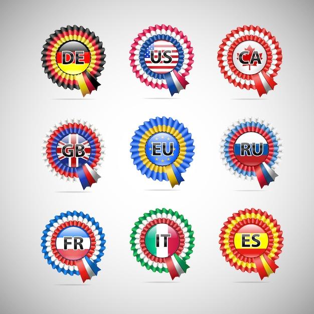 Colección de insignias de bandera de diferentes países. Vector Premium