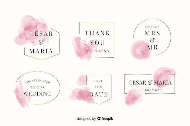 Colección de insignias de boda con manchas de acuarela vector gratuito