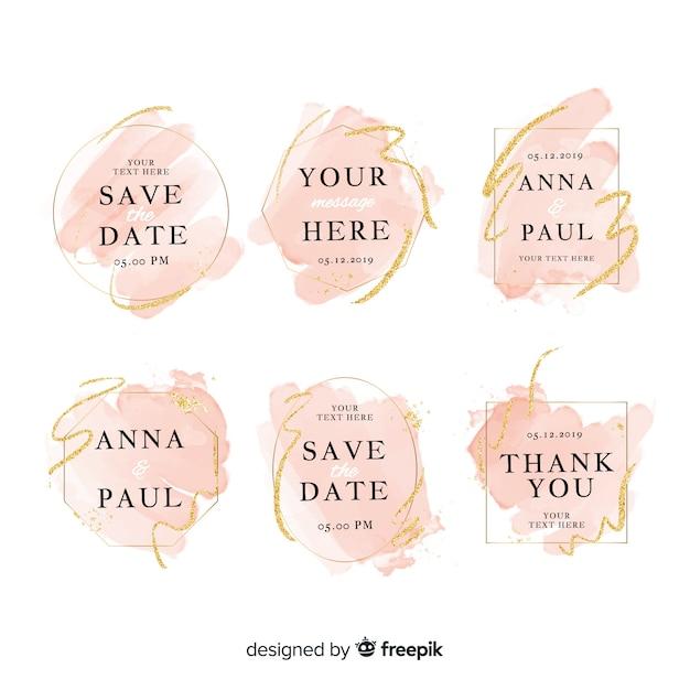 Colección de insignias de boda de manchas de acuarela vector gratuito