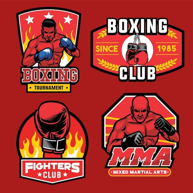 Colección de insignias de boxeo Vector Premium