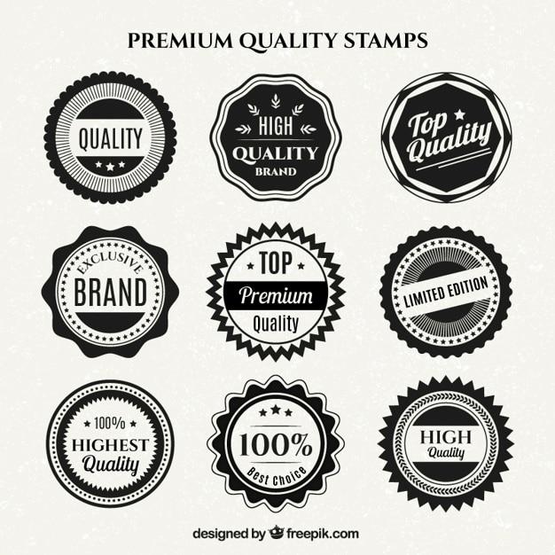 Colección de insignias de calidad en blanco y negro vector gratuito