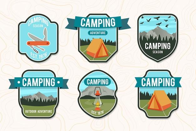 Colección de insignias de camping vintage vector gratuito