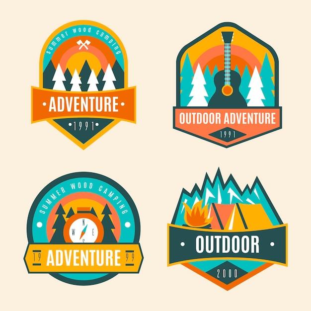Colección de insignias de camping vintage Vector Premium